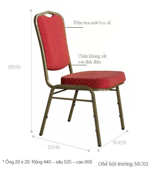 Kích thước kỹ thuật ghế MC02