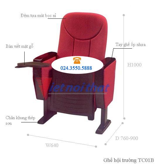Kích thước kỹ thuật ghế hội trường TC01B