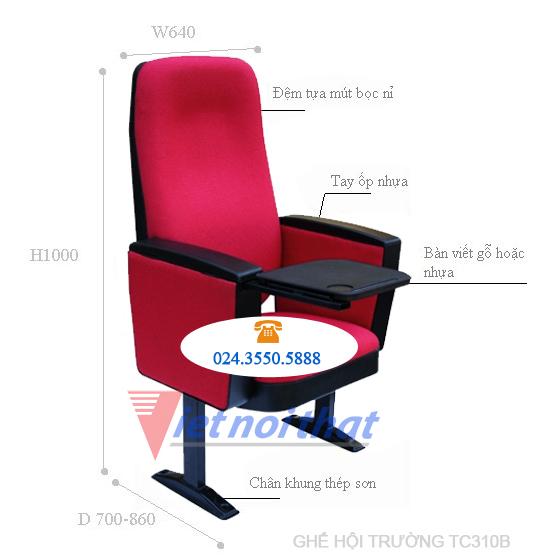 kích thước ghế hội trường TC310B