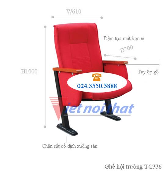 Kích thước ghế hội trường TC336