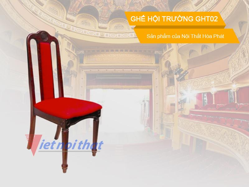 Ghế hội trường Hòa Phát GHT02 chất liệu gỗ tự nhiên. Sản phẩm của nội thất Hòa Phát