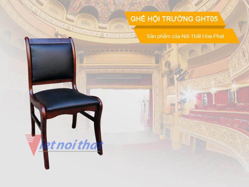 Ghế hội trường Hòa Phát GHT05 chất liệu gỗ tự nhiên. Sản phẩm của nội thất Hòa Phát