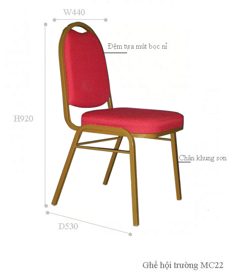 Kích thước ghế hội trườn mc22