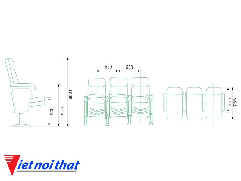 Chi tiết kỹ thuật Ghế hội trường nhập khẩu HJ-06B