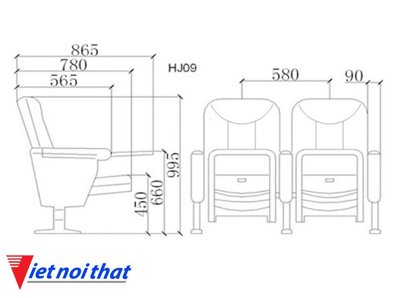Chi tiết kỹ thuật Ghế hội trường nhập khẩu HJ-09B