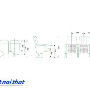 Chi tiết kỹ thuật Ghế hội trường nhập khẩu HJ-105