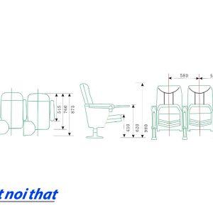 Chi tiết kỹ thuật Ghế hội trường nhập khẩu HJ-16B