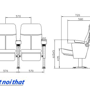 Chi tiết kỹ thuật Ghế rạp chiếu phim nhập khẩu HJ-16F