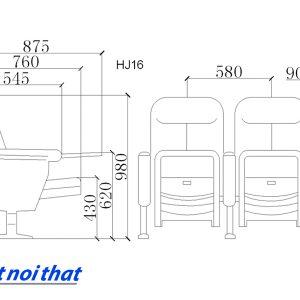 Chi tiết kỹ thuật Ghế hội trường nhập khẩu HJ-16