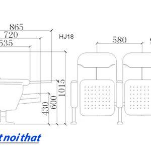Chi tiết kỹ thuật Ghế hội trường nhập khẩu HJ-18