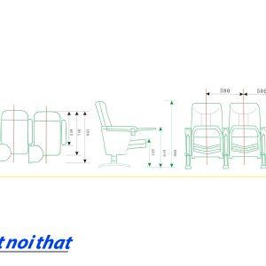 Chi tiết kỹ thuật Ghế hội trường nhập khẩu HJ-23