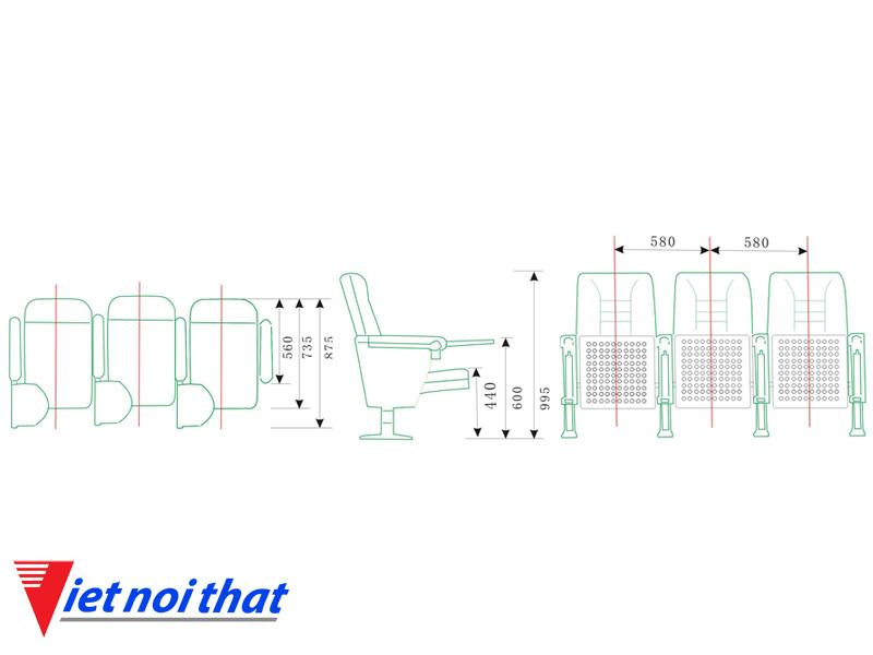 Chi tiết lỹ thuật Ghế hội trường nhập khẩu HJ-58A
