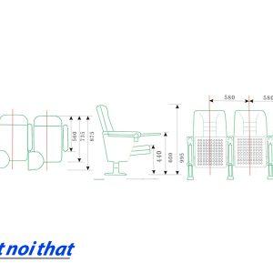 Chi tiết kỹ thuật Ghế hội trường nhập khẩu HJ-58B