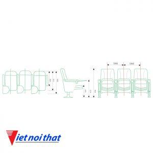 Chi tiết kỹ thuật Ghế hội trường nhập khẩu HJ-61