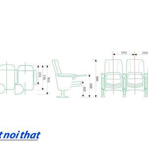 Chi tiết kỹ thuật Ghế hội trường nhập khẩu HJ-62A