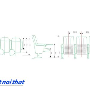 Chi tiết kỹ thuật Ghế hội trường nhập khẩu HJ-62B