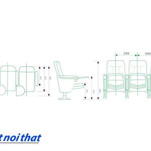 Chi tiết kỹ thuật Ghế hội trường nhập khẩu HJ-63
