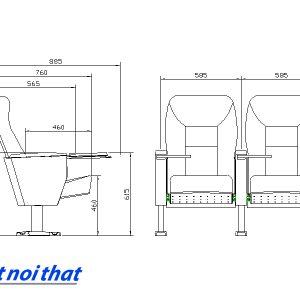 Chi tiết kỹ thuật Ghế hội trường nhập khẩu HJ-6801