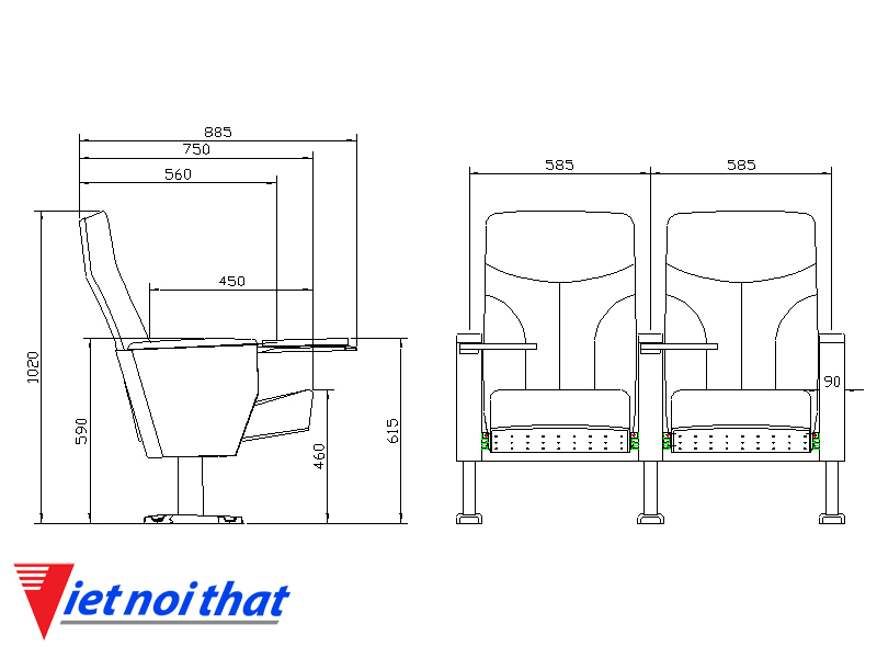Chi tiết kỹ thuật Ghế hội trường nhập khẩu HJ-6802