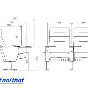 Chi tiết kỹ thuật Ghế hội trường nhập khẩu HJ-6803