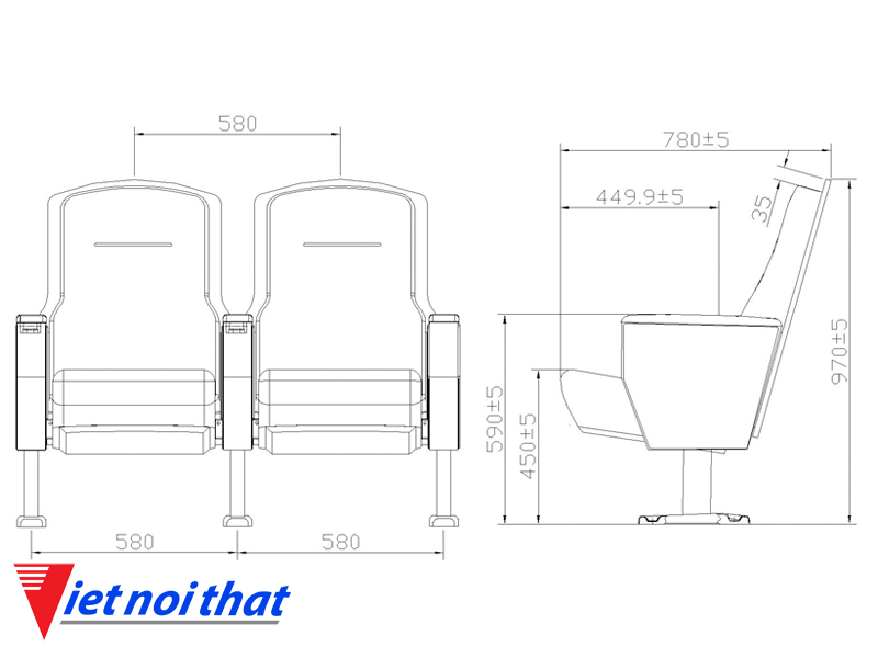 Chi tiết kỹ thuật Ghế hội trường nhập khẩu HJ-6805
