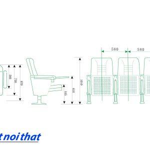 Chi tiết kỹ thuật Ghế hội trường nhập khẩu HJ-68A