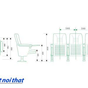 Chi tiết kỹ thuật Ghế hội trường nhập khẩu HJ-68B