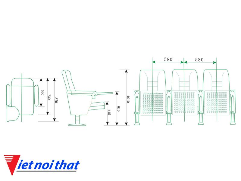 Chi tiết lỹ thuật Ghế hội trường nhập khẩu HJ-68C
