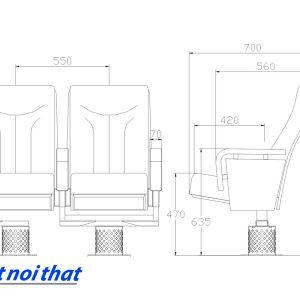 Chi tiết kỹ thuật Ghế hội trường nhập khẩu HJ-78A