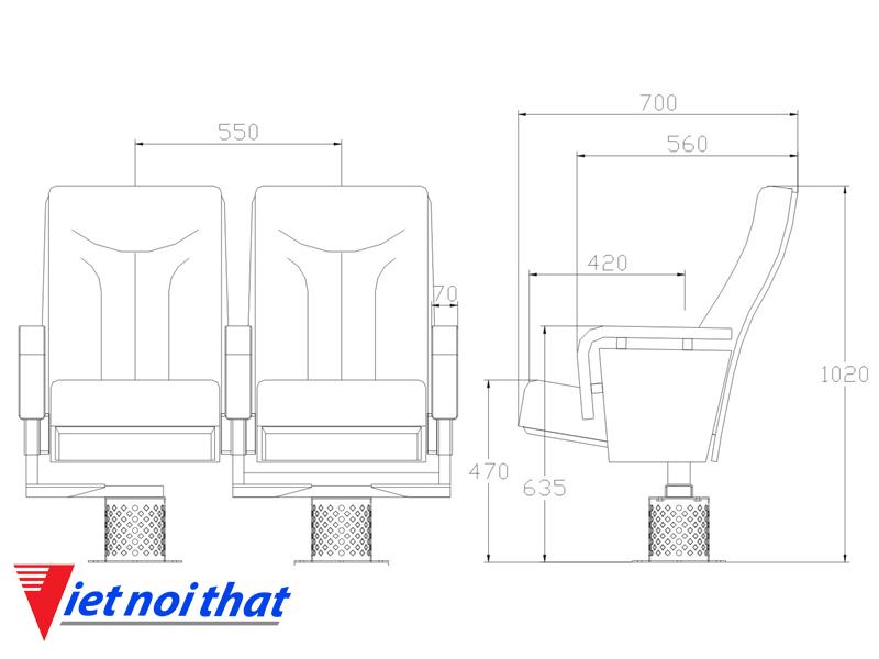 Chi tiết kỹ thuật Ghế hội trường nhập khẩu HJ-78B