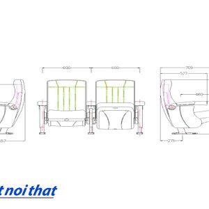 Chi tiết kỹ thuật Ghế rạp chiếu phim nhập khẩu HJ-812