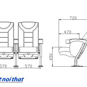 Chi tiết kỹ thuật Ghế rạp chiếu phim nhập khẩu HJ-813