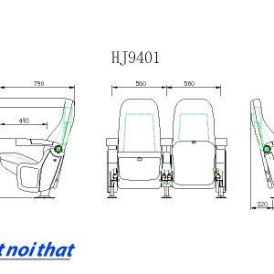 Chi tiết kỹ thuật Ghế rạp chiếu phim nhập khẩu HJ-9401