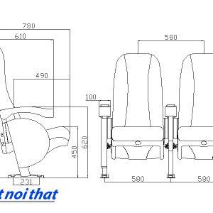 Chi tiết kỹ thuật Ghế rạp chiếu phim nhập khẩu HJ-9402