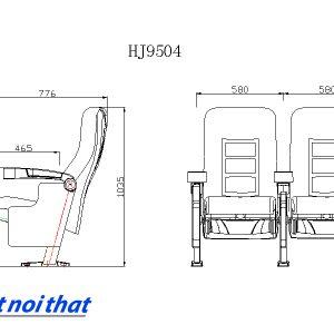 Chi tiết kỹ thuật Ghế rạp chiếu phim nhập khẩu HJ-9504