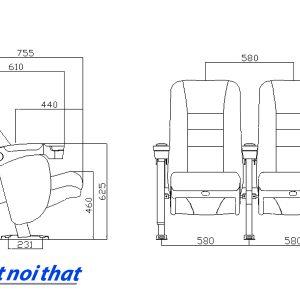Chi tiết kỹ thuật Ghế rạp chiếu phim nhập khẩu HJ-9505B