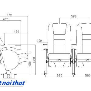 Chi tiết kỹ thuật Ghế rạp chiếu phim nhập khẩu HJ-9505