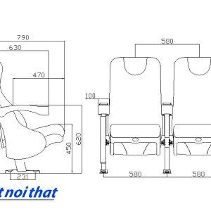 Chi tiết kỹ thuật Ghế rạp chiếu phim nhập khẩu HJ-9506