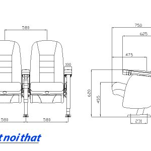Chi tiết kỹ thuật Ghế rạp chiếu phim nhập khẩu HJ-95B