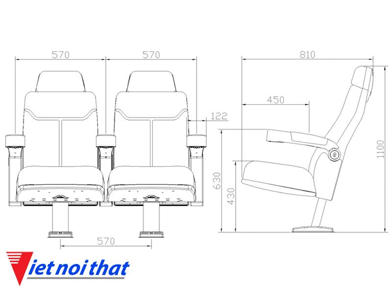 Chi tiết kỹ thuật Ghế rạp chiếu phim nhập khẩu HJ-9912