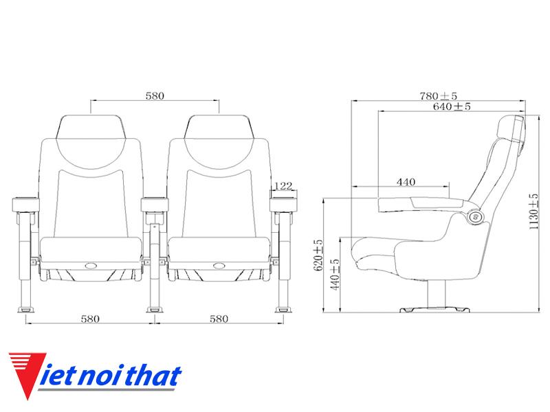 Chi tiết kỹ thuật Ghế rạp chiếu phim nhập khẩu HJ-9913B